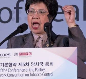 WHO chief Margaret Chan delivers a speech at COP5.