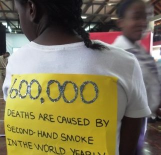 Jamaican school girl with a message, 2012.