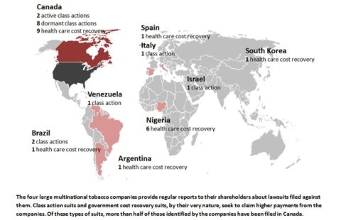 Map of lawsuits pending globally