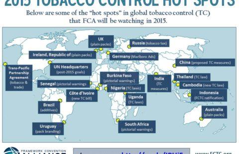 Global tobacco control hotspots, 2015