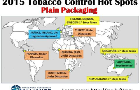Global map of plain packaging, 2015