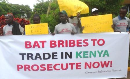 Marchers protest BAT corruption in Kenya